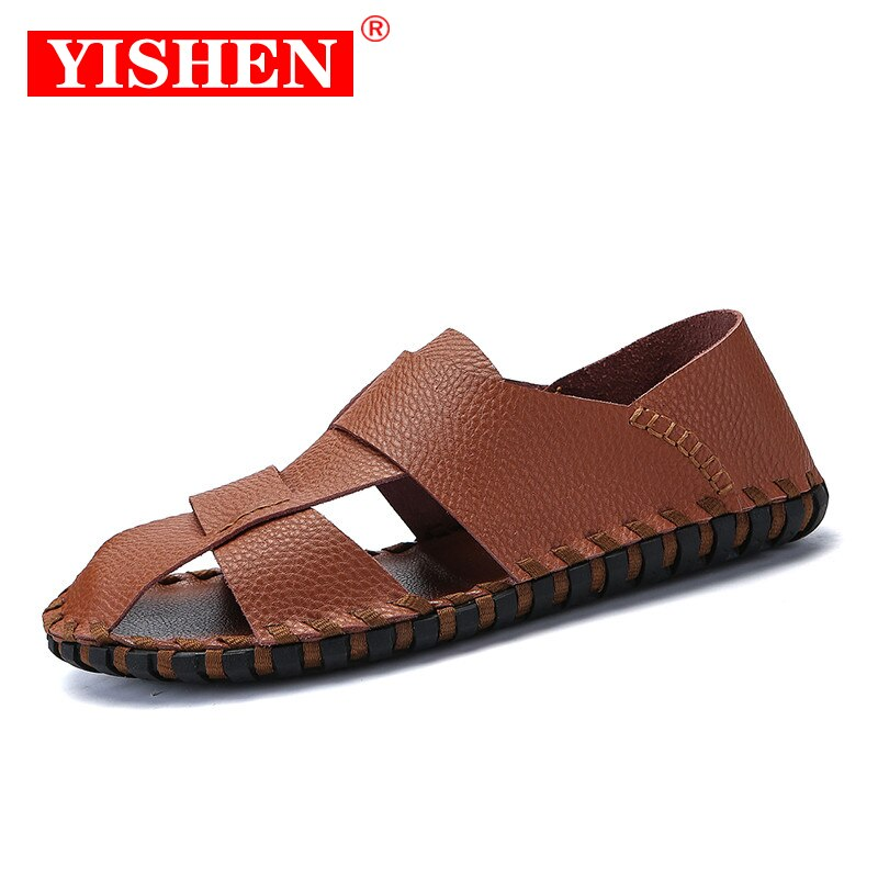 YISHEN Men Sandals Outdoor Beach Summer Leather Sandals Male Shoes Flat Lightweight Casual Sandals B