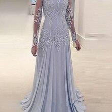 2020 Bride Mother Dress Chiffon Silver A Line long sleeve Applique Elegant Formal Groom Floor Length