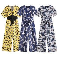 Elegant Animal Print Jumpsuit Women Short Sleeve O-neck Back Zipper Romper Female Casual Loose Large Size Bow Sashes Jumpsuits