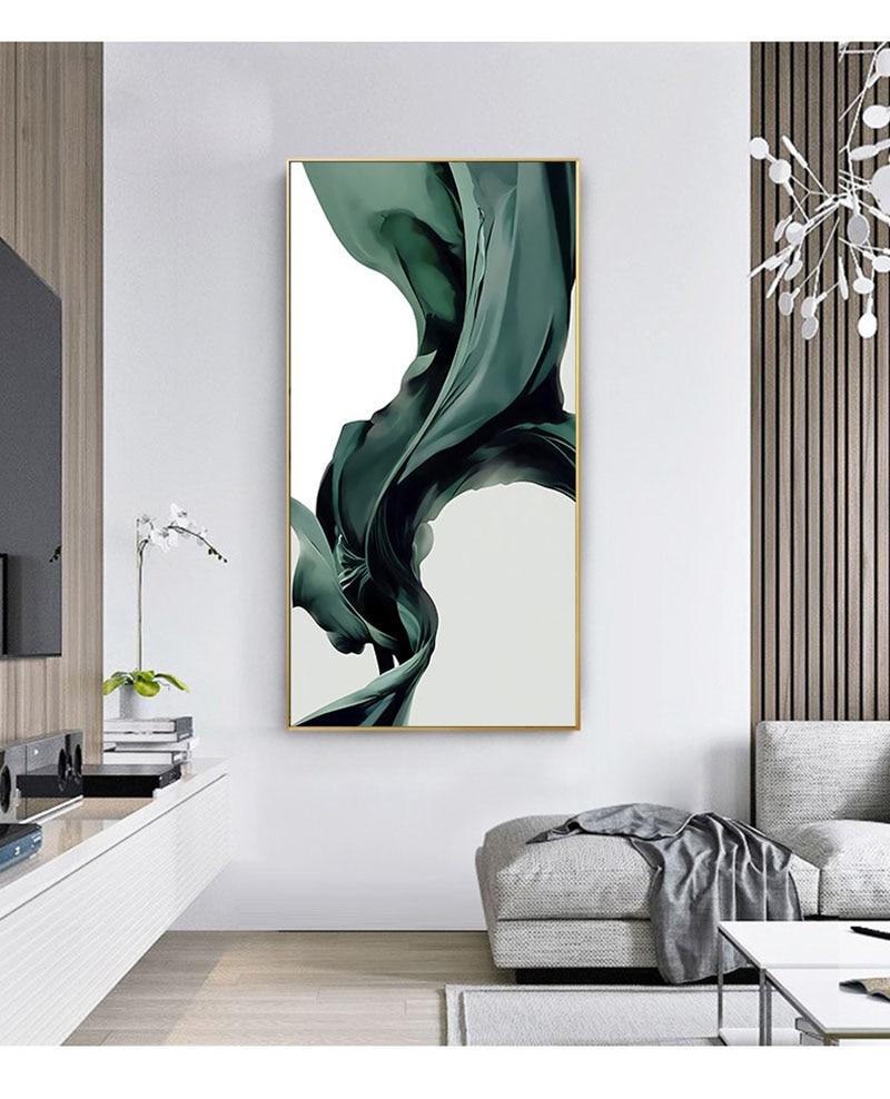 Seda verde negruzco, Sol Dorado de pez dorado plateado, estilo moderno, porche, sala de estar, pared de Cuadros decorativos, pinturas de arte