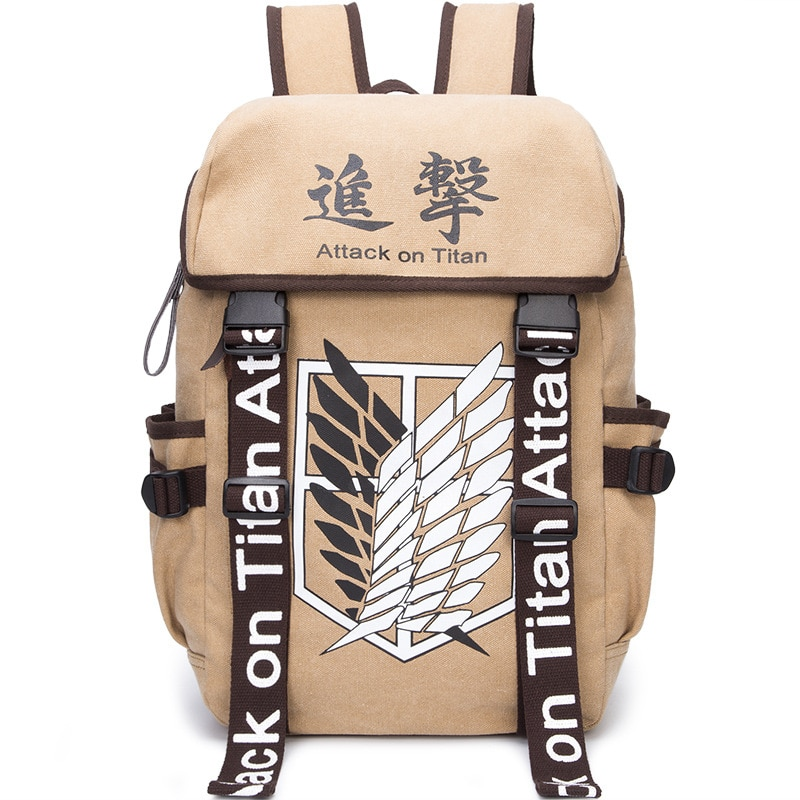 حقيبة ظهر انيمي هجوم تيتان ، حقيبة ليبرتي ، طالب ، بني