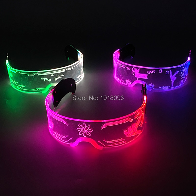 Fashion Cool LED Glasses Luminous Neon Light up Glasses Glowing Rave Costume Glasses Christmas Hallo
