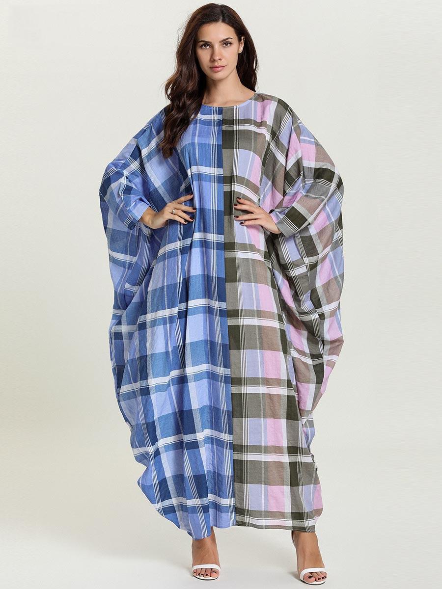 Vestido Abaya musulmán suelto para mujer, vestido Hijab caftán marroquí de celosía con manga murciélago, vestido largo árabe de Dubái de Turquía