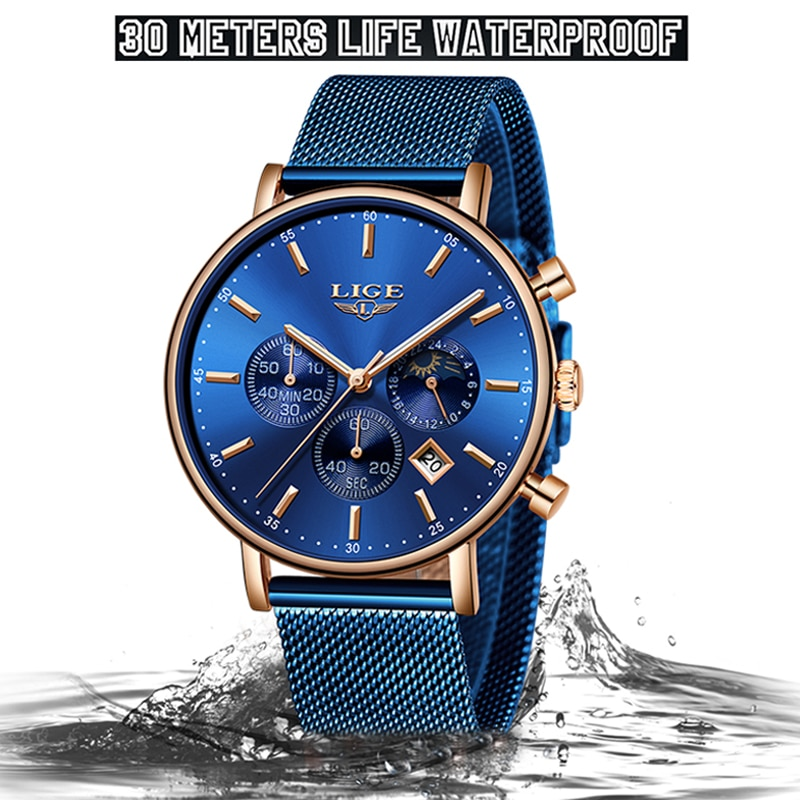 LIGE Women Fashion Blue Quartz Watch Lady Mesh Watchband High Quality Casual Waterproof Wristwatch Moon Phase Clock Women Watch enlarge
