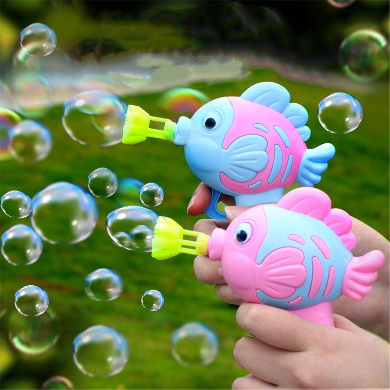 1PC Cute Cartoon Fish Soap Water Bubble Gun Toy Manual Bubble Blower For Kids Children Outdoor