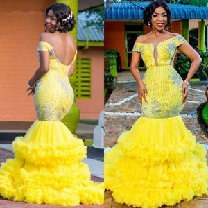 Aso Ebi Yellow Mermaid Evening Dress Off Shoulder Ruffles Tiered Skirt Luxury Lace Beaded Prom Dresses abendkleider Formal Gown