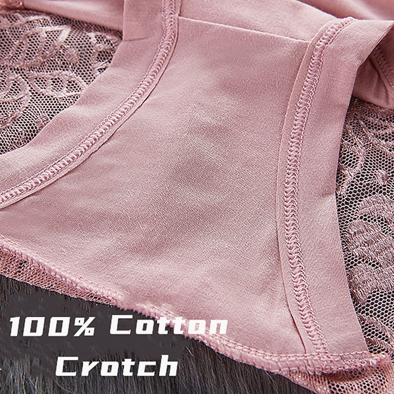 Women's Cotton Underwear Panties Sexy Lace Mid-Waist Hollow - underwear