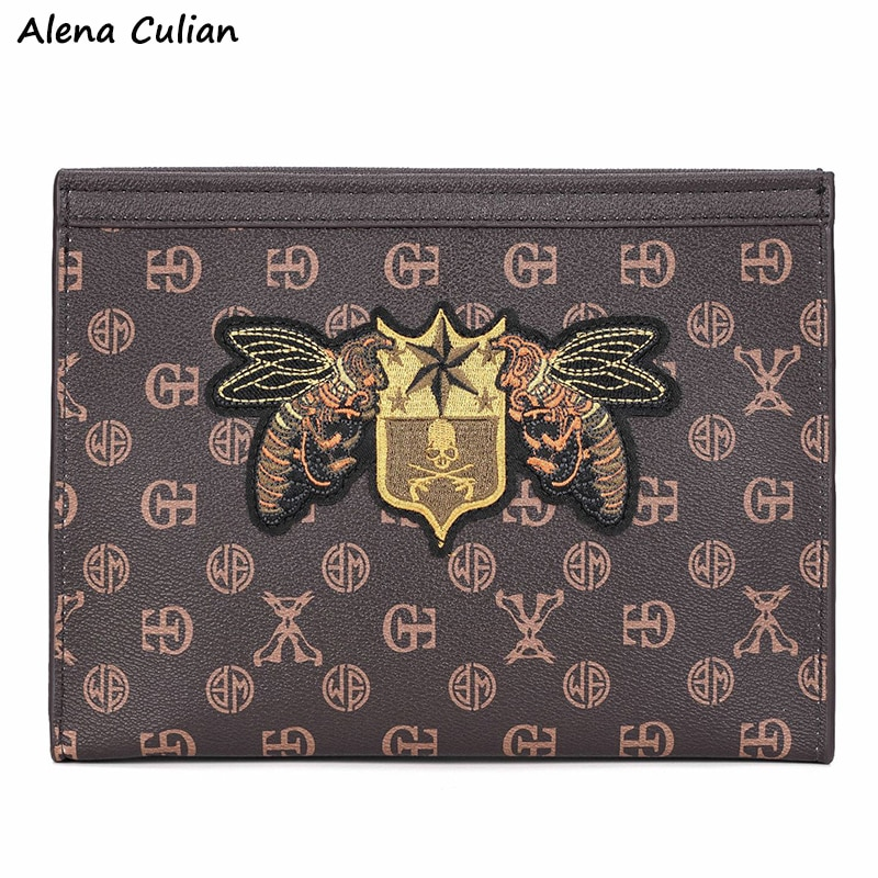 Vintage Fashion Leather Mens Clutch Bag Bee Pattern Large Capacity Casual Business Man Wallet Office