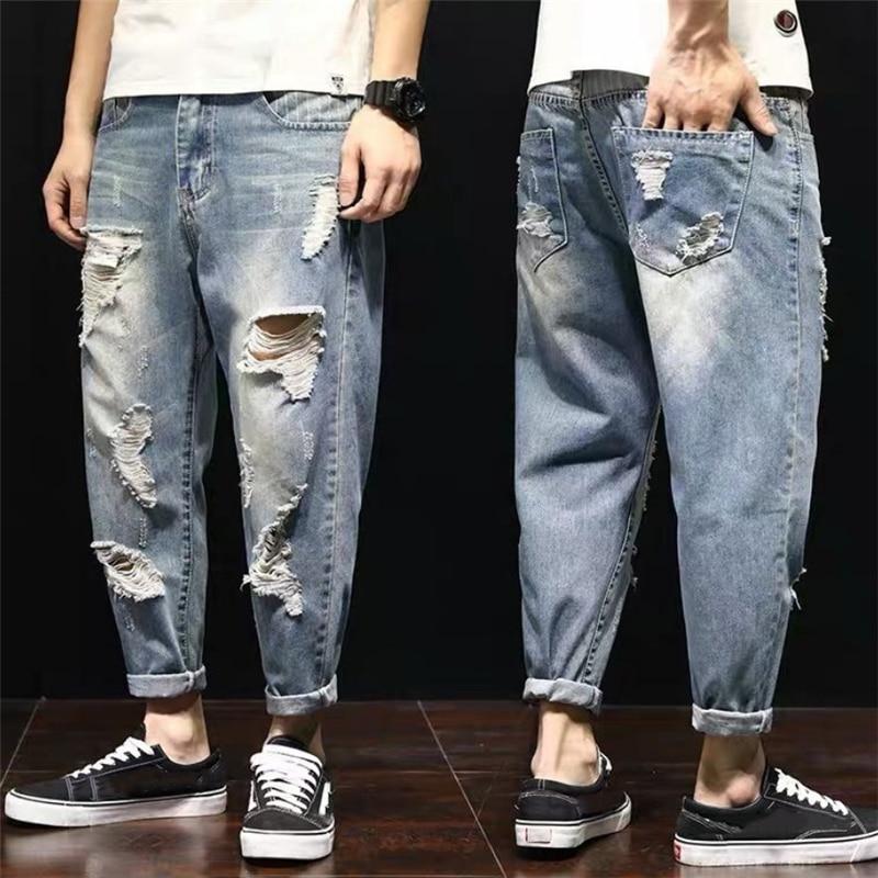 Moda De Hombre Pantalones Vaqueros rasgados 2020 calle estilo Denim azul pantalones...