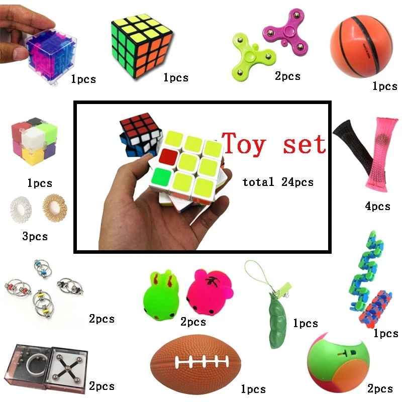Combination 24 Pieces Extrusive-Solving Fidget Kids Toys 2020 Hot Selling Various Styles Set Wholesale