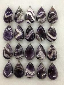 Wholesale 10pcs/Pack Dog Teeth Amethysts Bead Pendant,Pear Shape Gem Stone Jewelry Necklace DIY 32mm