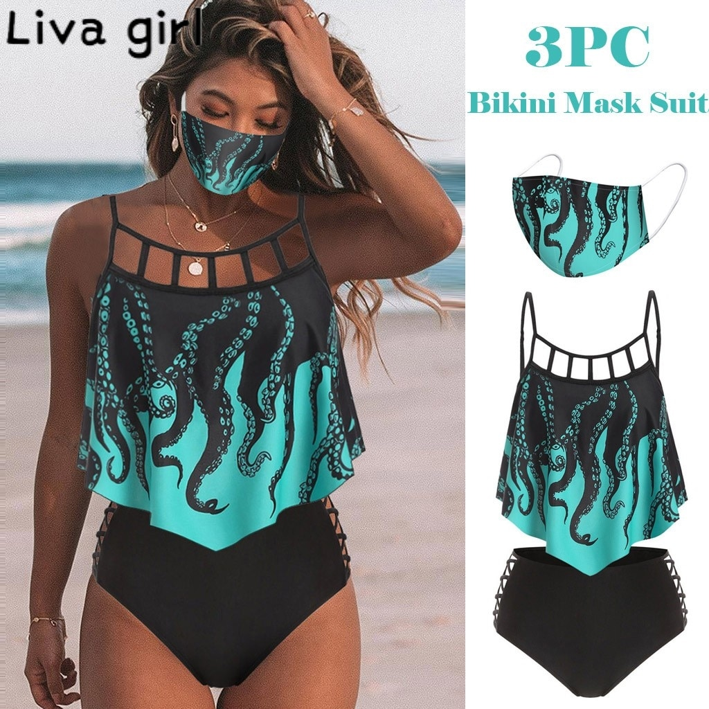 Liva girl-Bikini con relleno de realce, 3 uds. De traje de baño con estampado de girasol, bañador de banda, Monokini, traje de baño brasileño con máscara de Bikini 2020