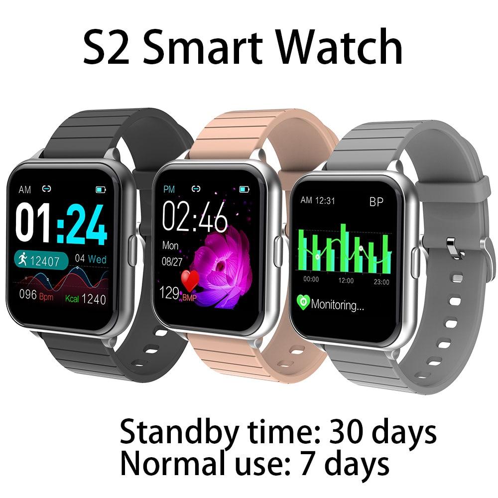 Reloj inteligente S2 para hombres y mujeres, deporte IP67, Monitor de ritmo cardíaco a prueba de agua, presión arterial, carga magnética para IOS y Android