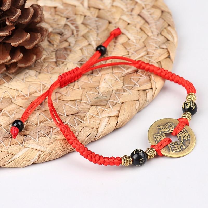 1 шт. китайский фэн-шуй I Цзин древняя монета Красная Нить притягивает счастливое богатство браслеты