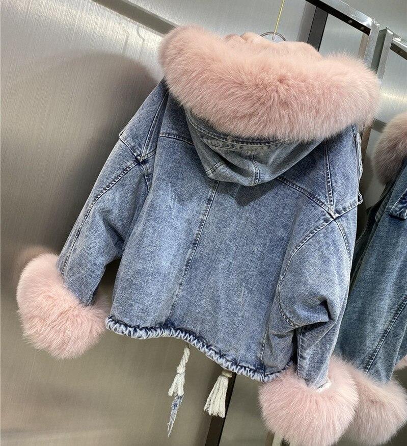 Женская куртка из джинсовой ткани, теплая зимняя куртка из джинсовой ткани с натуральным мехом, роскошная свободная парка с лисьим мехом на ...