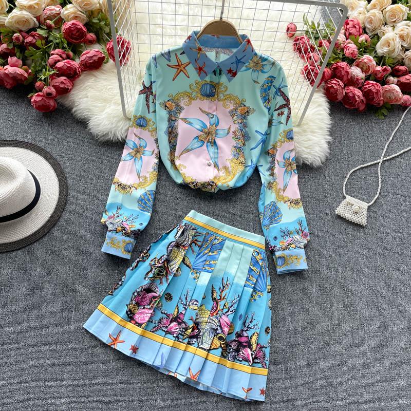 2021 جديد ربيع الخريف طباعة المدرج تنورة مجموعة النساء بدوره إلى أسفل طوق قميص قصير مطوي فستان قطعتين مكتب بدلة عمل