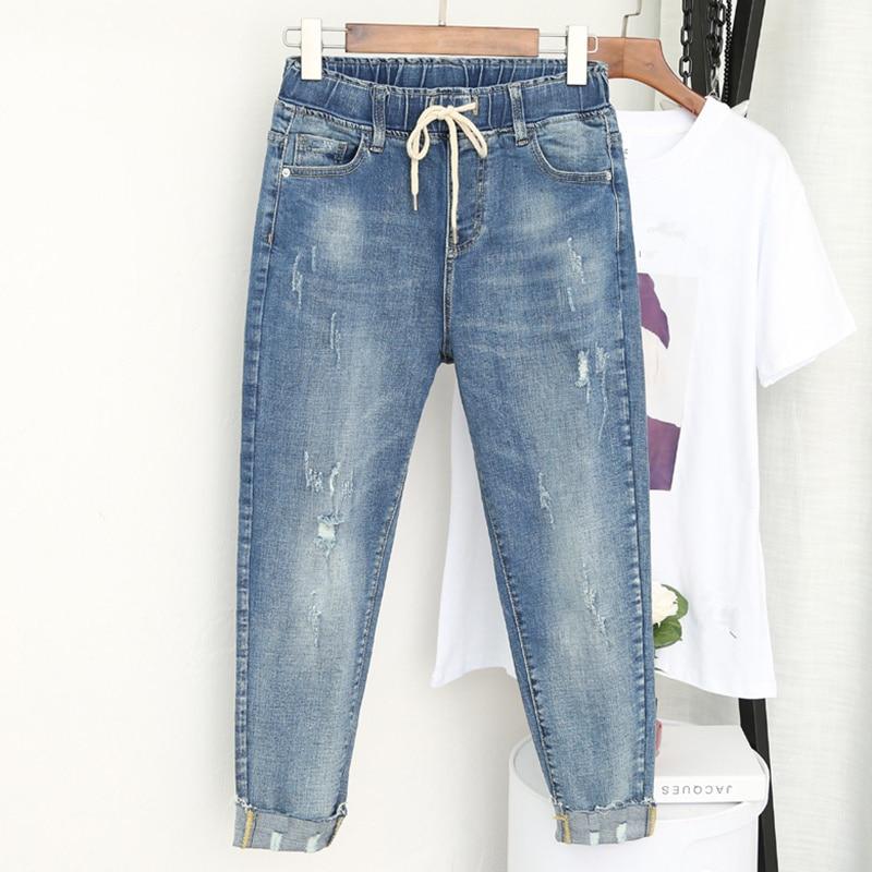 5XL Plus Size Boyfriend Jeans For Women Casual Vintage High Waist Jeans Denim Harem Pants Elastic Waist Denim Jeans Femme K421
