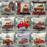new year 2022 christmas decoration car print pattern cotton canvas throw cushion cover home sofa party decor pillowcover 40147
