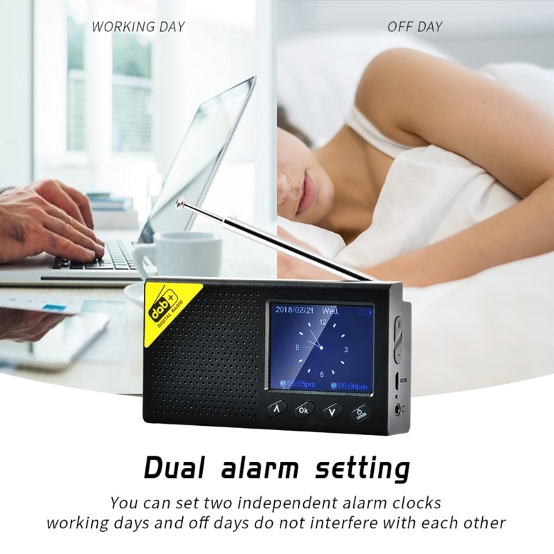 Portable Bluetooth Digital Radio DAB/DAB+ and FM Receiver Rechargeable Lightweight Home Radio enlarge