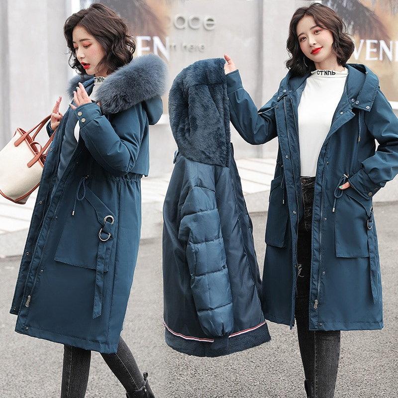 Fashionable Solid Warm Thick Fleece Hooded Winter Jacket Women 2021 New Removable Cotton Liner Parka Female Slim Long Coat new winter jacket women removable warm wool collar parka casual long coat double faced cotton coat black female jacket
