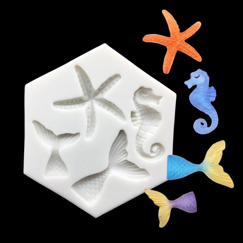 Ferramentas de Decoração do Bolo Atacado Sereia Cauda Starfish Seahorse Silicone Molde Sugarcraft Cupcake Baking Fondant 10 Pçs