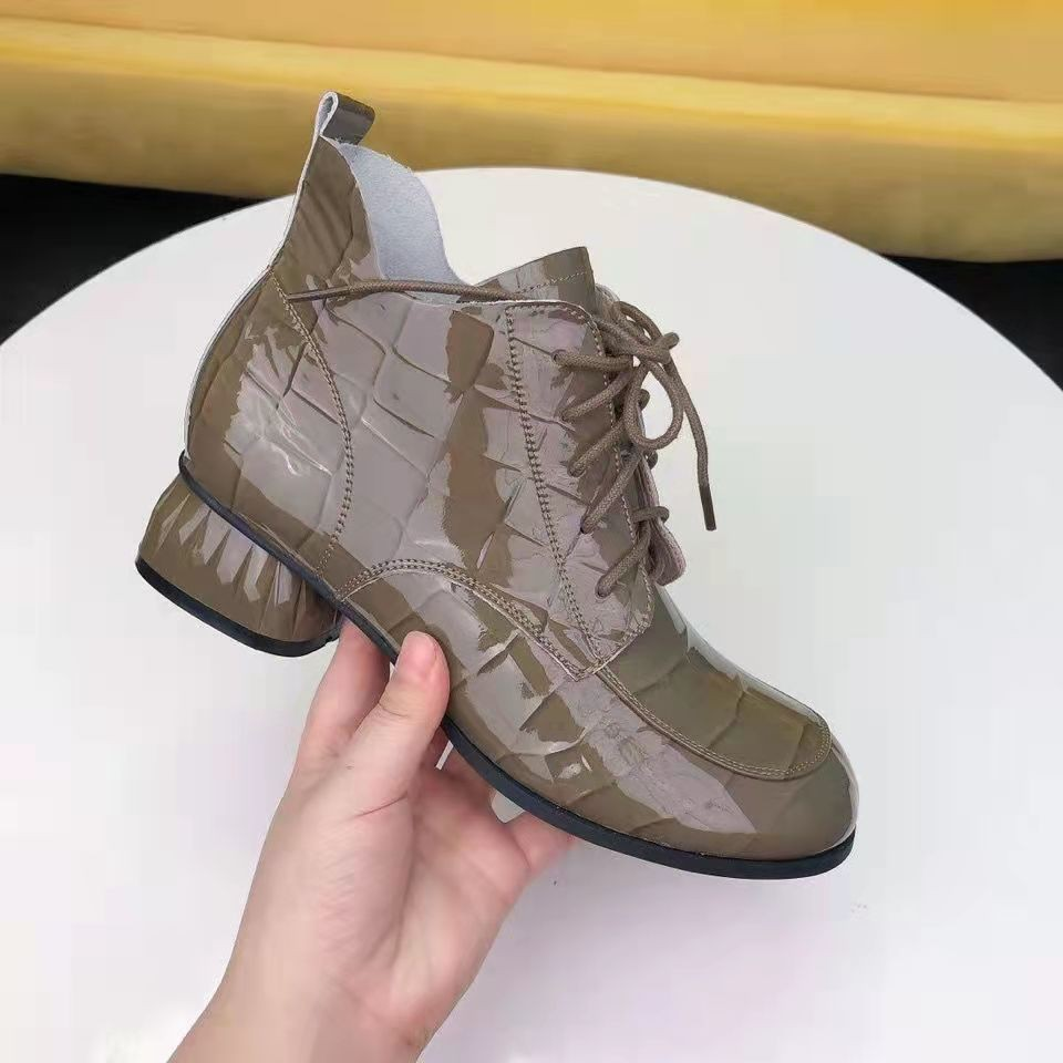 Mixed Colors Women Boots Genuine Leather Women Shoes 2021 New Zip Flat with Round Toe Lace-up Ankle