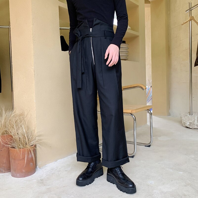 Casual Zipper pantalones de pierna ancha Streetwear Harem pantalones Vintage de moda de Japón hombres de alta cintura suelta Hip Hop recta hombres mujeres