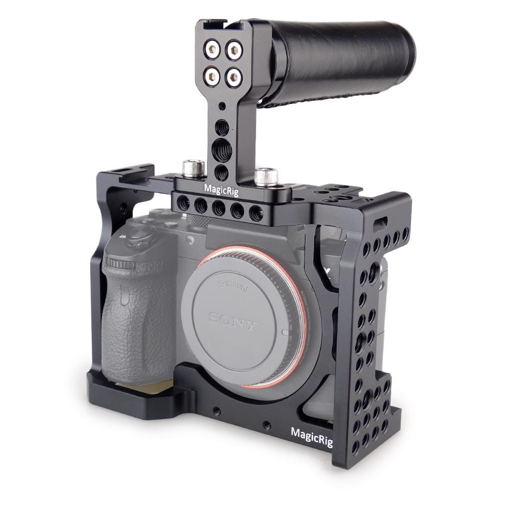 Carcasa de camara DSLR MAGICRIG con mango superior para cámara Sony A7II /A7III /A7SII /A7M3 /A7RII /A7RIII, Kit de extensión de liberación rápida