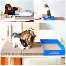 Tablero de rasguños de gato en caja de dos lados de papel corrugado plano gato garra juguete gato suministros gato juguete juego interactivo gatos de juguete