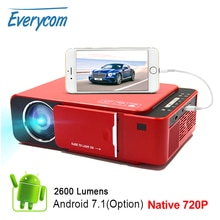 Everycom T6 LED Video projektör HD 720P taşınabilir HDMI seçeneği Android Wifi Beamer desteği 4K Full HD 1080p ev sineması sinema