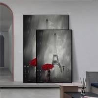 Affiches dart et imprimes sur le mur  parapluie rouge  romantique  Paris  tour Eiffel  Art deco  photos pour salon  decoration de la maison