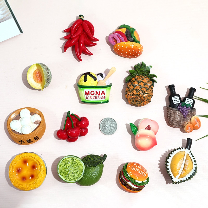 Refrigerador estéreo 3D bionic food, regalo creativo con pegatinas magnéticas, imán magnético decorativo de estilo nórdico ins para alimentos, imán para nevera encantador