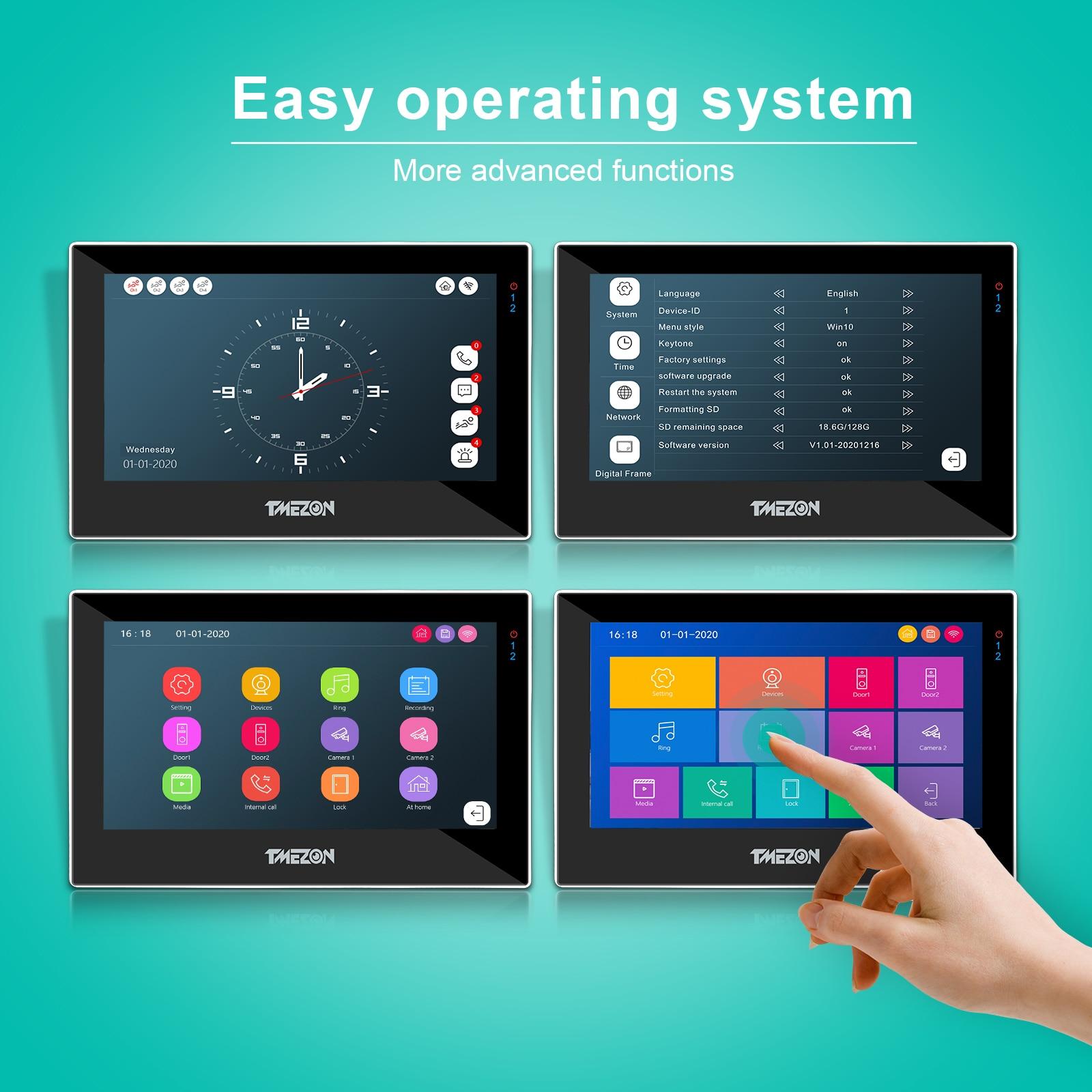 TUYA TMEZON 7 Inch Wireless Wifi Smart IP Video Door Phone Intercom System with 2*1080p IP Monitor + 1 Rainproof Doorbell Camera enlarge