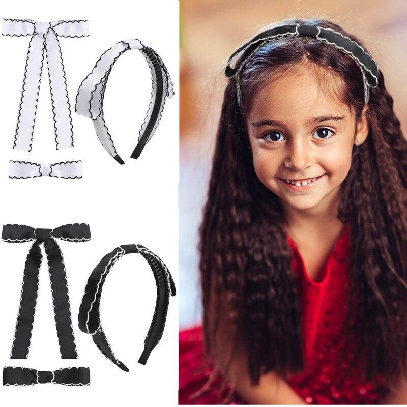 Black White Sweet Bow Hairband Hair Clips 2021 Fashion Headwear Girls Headband Vintage Bands Hoop Accessories