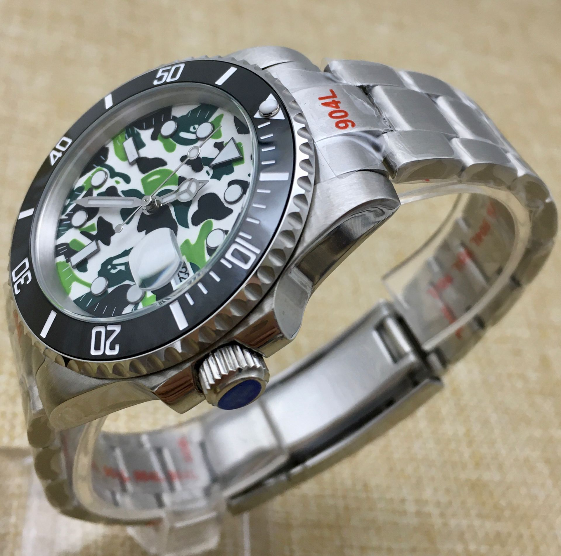 Fashion Green Camouflage Dial Luminous Sports Men's Watch Automatic Watch Mechanical Stainless Steel Case Bracelet enlarge
