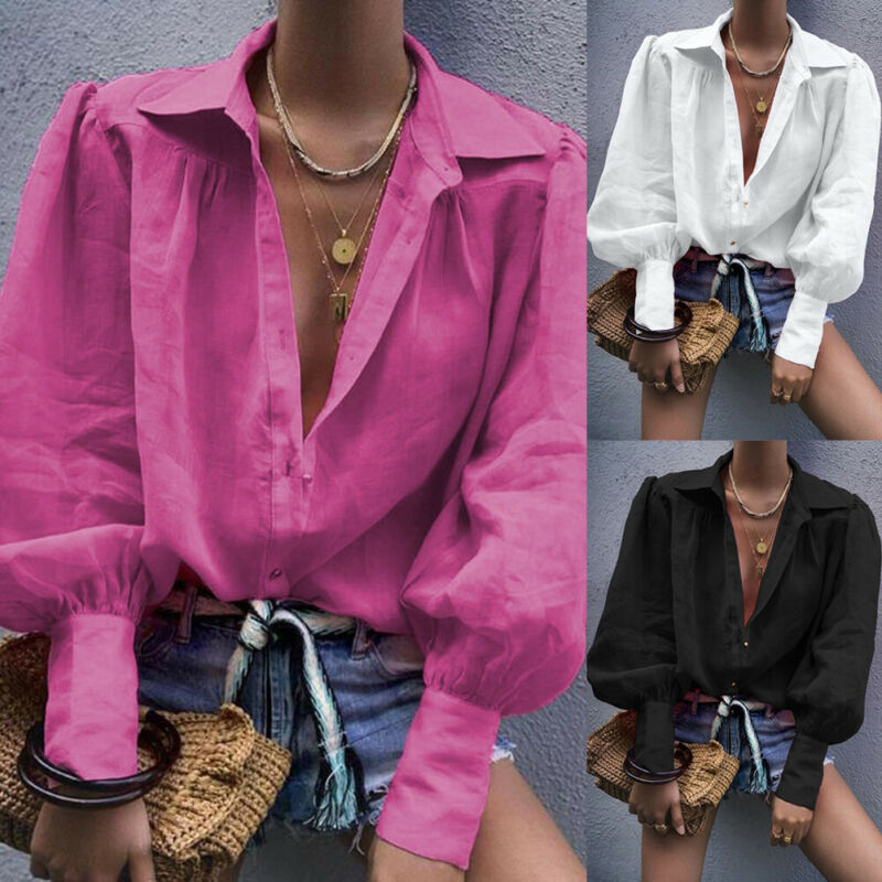 Women Cotton Linen Casual Solid Tops Casual Long Lattern Sleeve Button Shirts Ladies Turn Down Colla