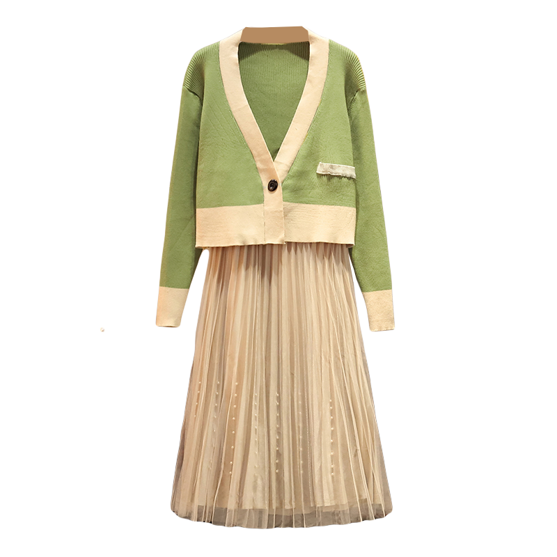 Otoño mujer suéter de punto plisado falda conjunto ropa 2 piezas Outwear nuevo Vogue Cardigan pequeño abrigo perla malla gasa falda traje