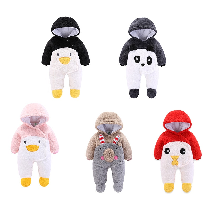 Winter Newborn Baby Hoodie Animal Clothes Infant Girls Boy Warm Outwear Rompers Thickening fluff Outdoors Full-Sleeved Jumpsuits