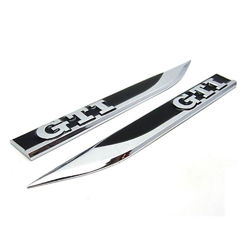 Insignia emblema cromada 3D pegatina Logo guardabarros lateral de metal para Golf MK4 MK5 MK6 Golf GTI 5 6 7 pegatinas Auto Accesorios