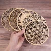 fleunew chakra flower of life natural symbol wood round edge circles carved coaster for stone crystal set home kitchen diy decor