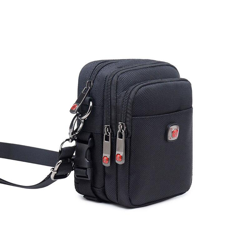 حقيبة كتف مفردة للرجال قماش أكسفورد يرتدي حزام الهاتف المحمول الخصر حقيبة قماش الرياضة الترفيه الرجال حقيبة ساعي