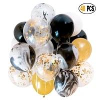 40pcs 12inch black gold balloons chrome gold black agate gold confetii balloon for birthday anniversary party decor kids globos