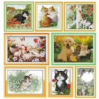 stamped cross stitch kit embroidery needlework sweet friendprinted 11ct 14ct counted patterns canvas crafts home decoration sets