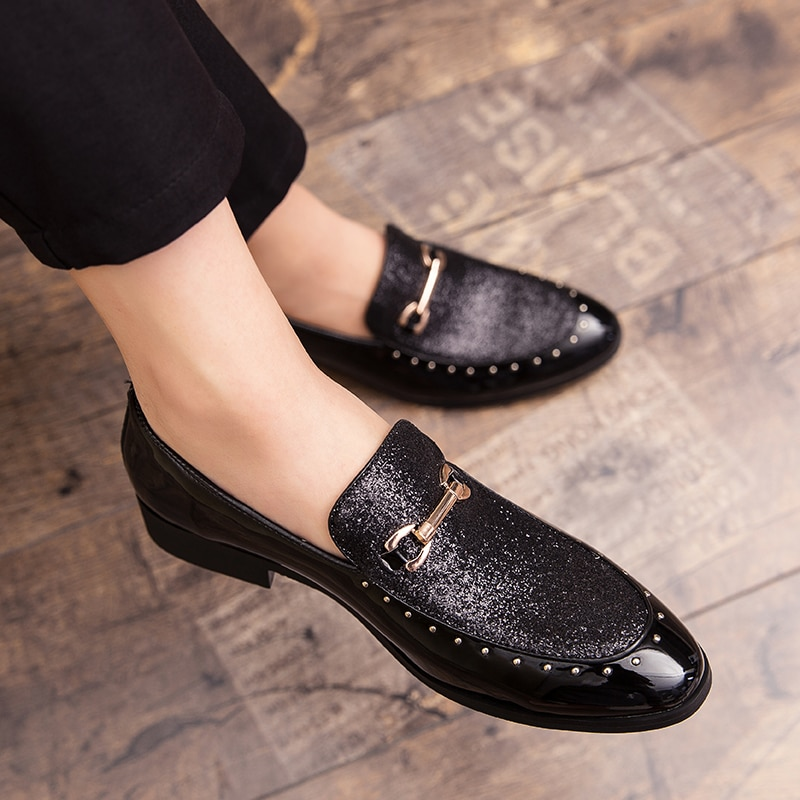 Leather Shoes Men Italian MenS Dress High-End Custom Rhinestone Office Business Loafers Gold Black Blue