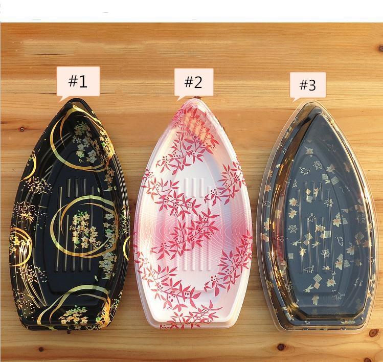 اليابانية قارب نمط واضح سوشي من البلاستيك يسلب صندوق صندوق تغليف الأطعمة أواني الطعام الحاويات شحن مجاني SN3469