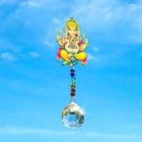 hd 40mm crystal ball prisms suncatcher with lord ganesh ganpati elephant hindu god ganesha rainbow maker home window decor gift