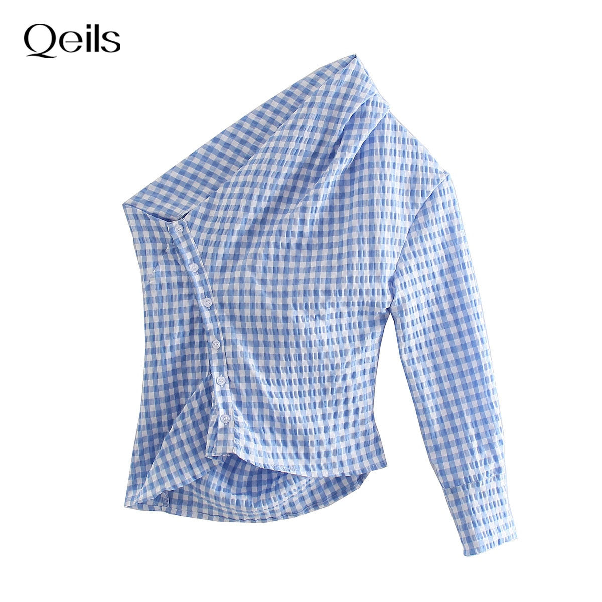 Qeils Women Sweet Fashion Solid With Button Loose Top Ruffles Plaid Shirt Casual Vintage Long Sleeve