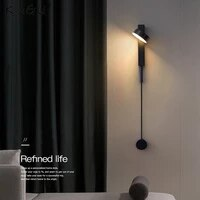 modern led bedside wall lamp rotatable switch wall mounted bedside lamp simple background wall hotel decoration lamps