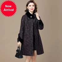 2020 new mothers genuine leather clothing womens mid length mink fur cotton printed sheep skin large size fur