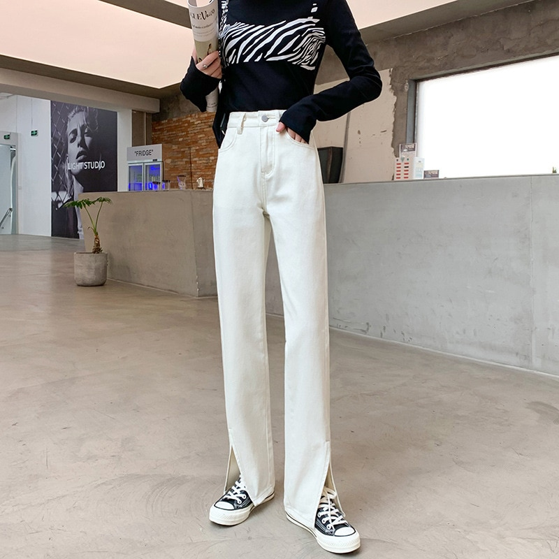 Брюки прямые с завышенной талией, джинсы-бойфренды с широкими штанинами в стиле Харадзюку, Новые расклешенные брюки с микроэффектом, незави...